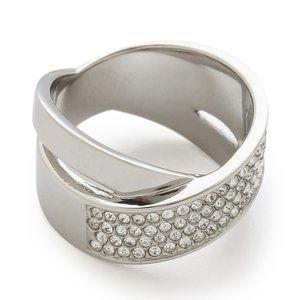 🎁 MICHAEL KORS Silver CrissCross Pave Band Ring 7